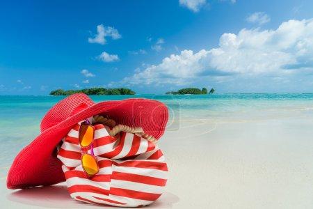 Red beach items at the beach