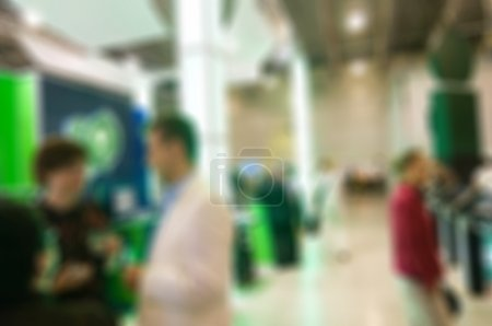 Photo for Generic trade show image with blurred defocusing - concept of big business social gathering for international meeting exchange - Royalty Free Image