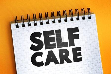 Texto de autocuidado en bloc de notas, antecedentes de concepto de salud