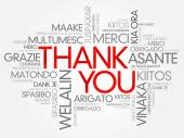Thank You Word Cloud vector background all languages