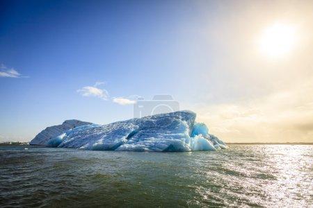 Icebergs floating in Jokulsarlon Lagoon