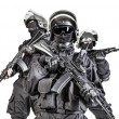 Russian special forces operators in black uniform ...