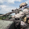 Member of Navy SEAL Team with weapons in action...