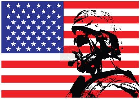 Illustration pour Illustration vectorielle de l'opérateur de guerre SEAL devant le drapeau américain - image libre de droit