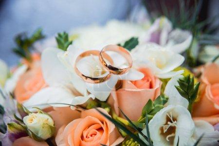Golden rings on flowers