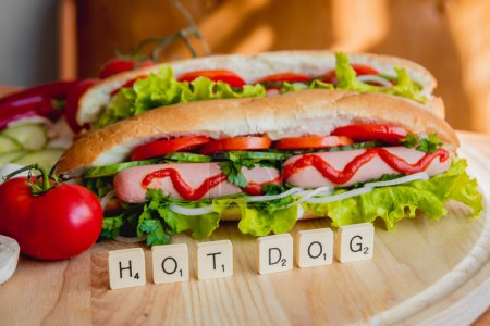 Large hot dogs with vegetables