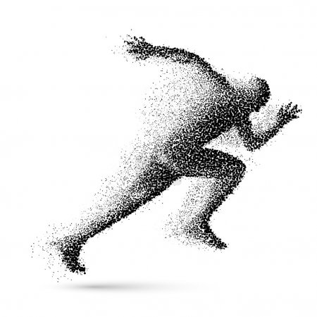 Illustration for Running Man in the Form of Black Particles - Royalty Free Image