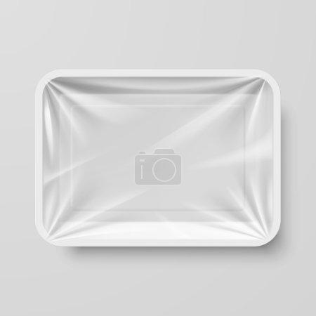 Illustration pour Conteneur alimentaire vide en plastique blanc sur gris - image libre de droit