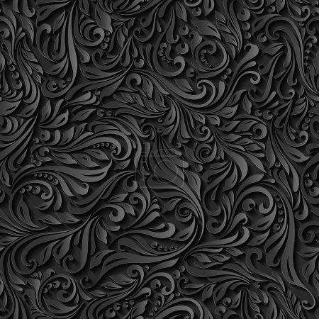 Illustration of seamless abstract black floral  vine pattern