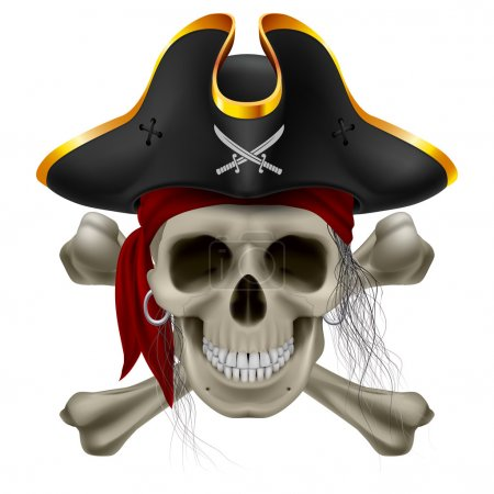 Pirate skull in red bandana and cocked hat with cr...