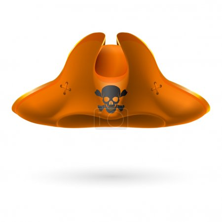 Orange cocked hat with pirate symbol of skull and ...