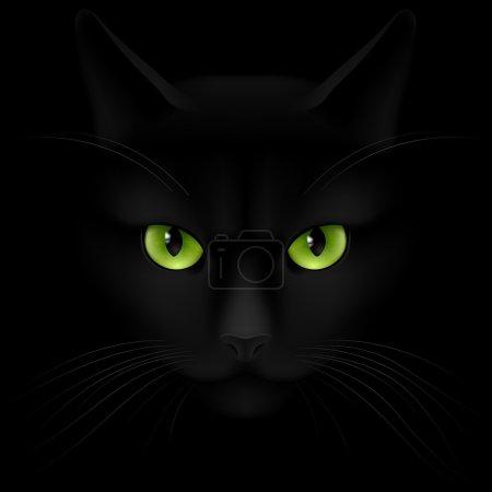 Illustration pour Chat noir avec les yeux verts regardant hors de l'obscurité - image libre de droit