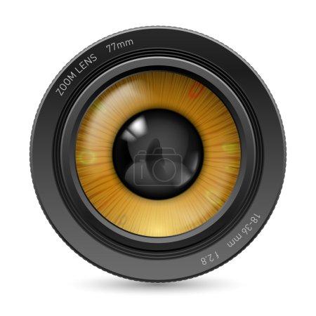 Illustration pour Objectif de la caméra isolé sur fond blanc. Illustration oeil orange - image libre de droit