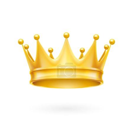 Illustration pour Attribut royal couronne dorée isolée sur fond blanc - image libre de droit