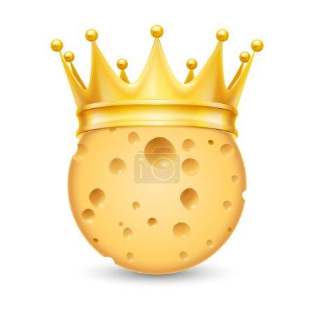 Illustration pour Couronne dorée sur la tête de fromage isolé sur fond blanc - image libre de droit