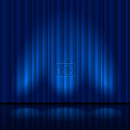 Illustration pour Rideau bleu réaliste. Illustration pour le design créatif - image libre de droit