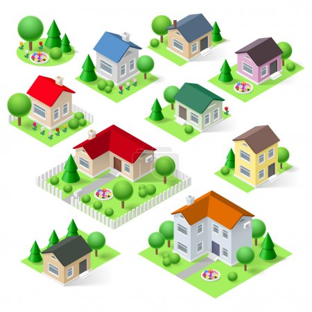 Illustration for Houses set icons isometric 3d with flower trees and fence - Royalty Free Image