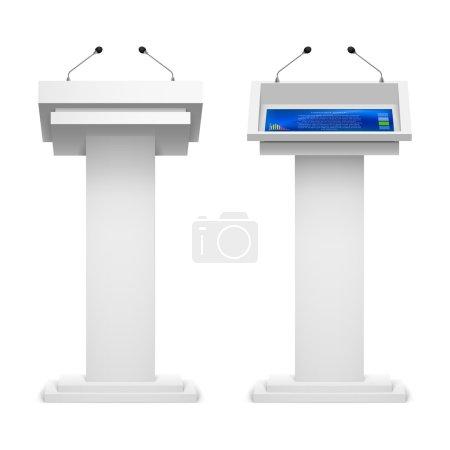 Set of tribunes  for the performance  speech