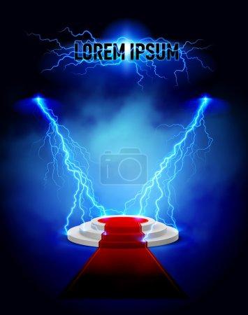 Lightning podium with red carpet