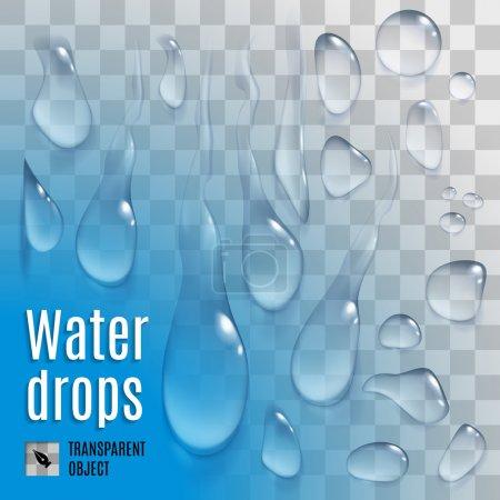Illustration pour Ensemble isolé de gouttes d'eau de variété transparente - image libre de droit