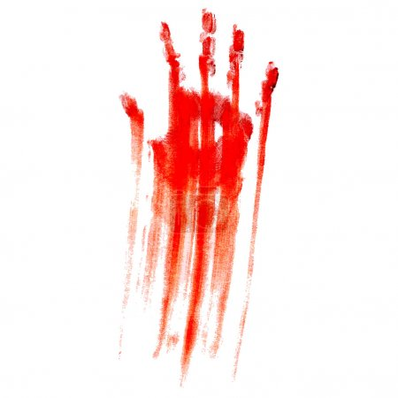 Red bloody hand print on a white background...
