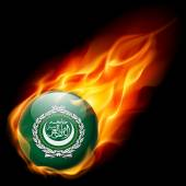 Flag of Arab League as round glossy icon burning in flame