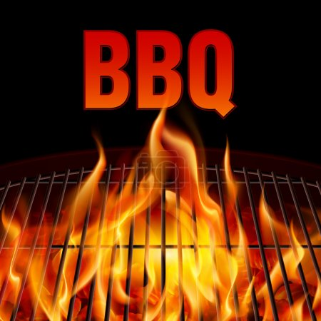 Illustration for Closeup BBQ grill fire on black background - Royalty Free Image