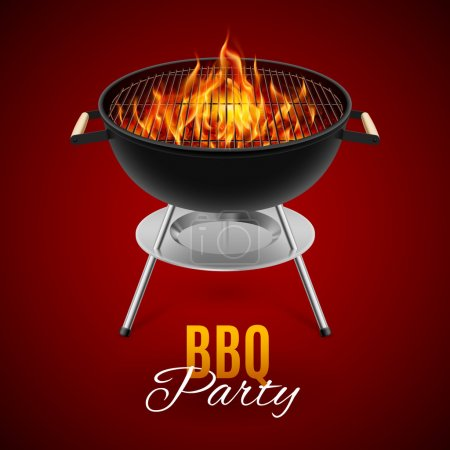Illustration for BBQ party banner grill with fire isolated on red - Royalty Free Image