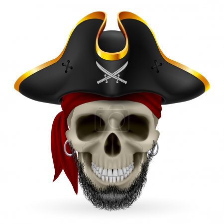 Bearded pirate skull in red bandana and cocked hat
