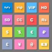 Set of flat square money symbols on the gray background