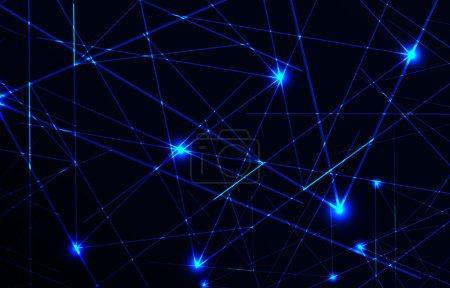 Illustration pour Belle lumière laser vectorielle en couleur bleue et fond sombre - image libre de droit