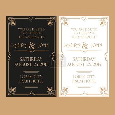 Wedding Invitation Card - Art Deco Vintage Style