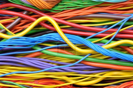 Photo for Colored electrical cables and wires background - Royalty Free Image