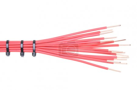 Copper cable with cable ties used in electrical installations