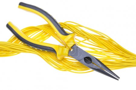 Pliers and yellow cables