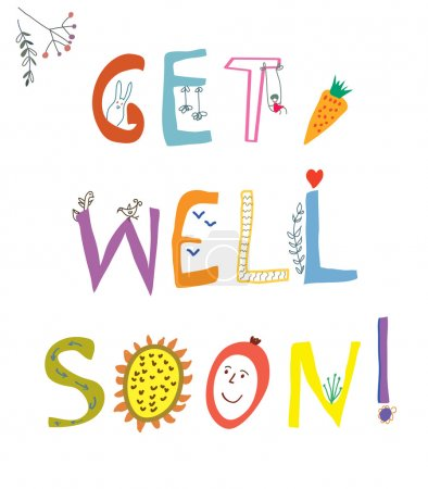 Get well soon card with funny lettering and flowers