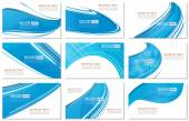 Set of Abstract Various Business Card  wave design