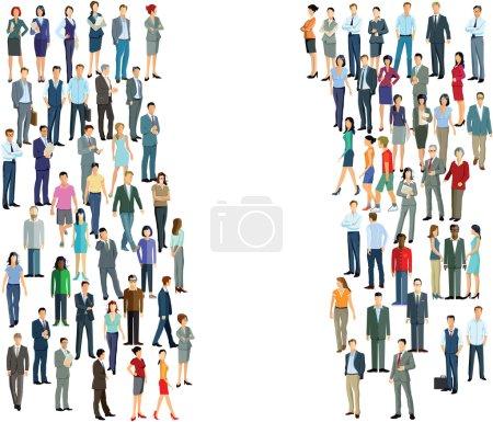 Illustration pour Deux groupes foule, diversité - image libre de droit