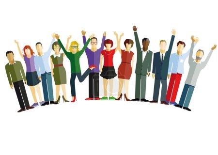 Illustration pour Les gens sont heureux et confiants - image libre de droit