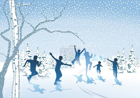 Children frolic in the snow