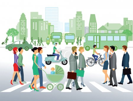 Illustration for Cityscape with people walking on the street - Royalty Free Image