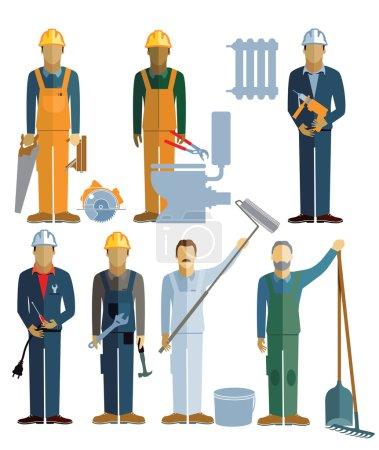 Illustration pour Sept artisans, artisans. travaux de construction - image libre de droit