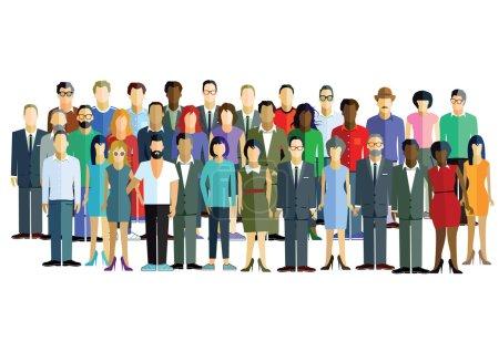 Illustration pour Portrait humain, visages, personnes, homme d'affaires , - image libre de droit