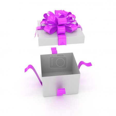 Photo for Open gift box with purple bow on white background - Royalty Free Image