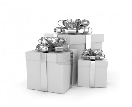 gift boxes with silver bows