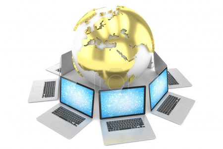 Laptops network and earth globe
