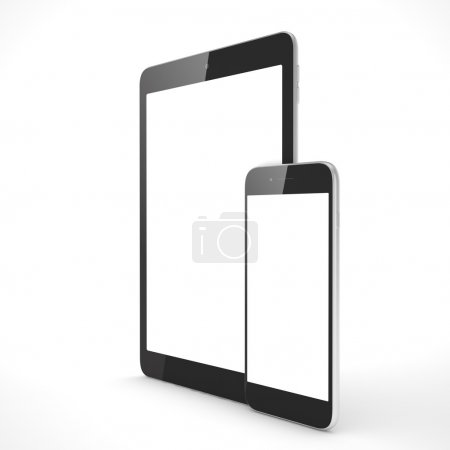 Photo for 3d illustration of Tablet and smartphone on a white background - Royalty Free Image