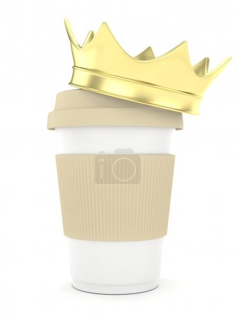 Coffee cup with golden crown