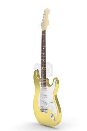 3d golden electric guitar