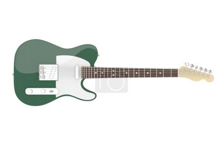 3d dark green  electric guitar